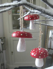 Set 3 rustic RED wood wooden hanging TOADSTOOL toadstools decorations~Christmas
