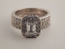 Designer Emerald Cut Triple Band Halo Diamond Engagement Ring 14k 1.28 tcw G/SI