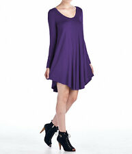 Womens V-Neck Long Sleeve A-Line Swing Dress Flared Long Tunic Top USA Plus Size