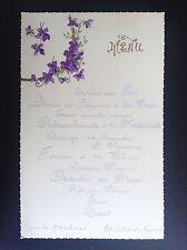 Ancien menu 1900 avec décor gaufré