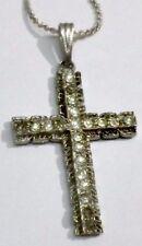 pendentif collier bijou vintage croix couleur argent cristal diamant *1795