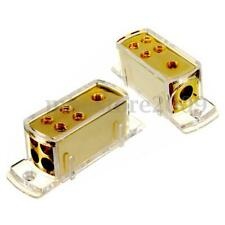 4 Ways Car Audio Stereo Amp Power Ground Cable Splitter Distribution Block + Cap
