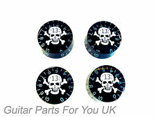 BLACK skull and cross bones LP SPEED knob set of 4 NEW  electric guitar