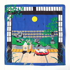 Full Moon with Tabby Cat Japanese Cotton Furoshiki Cloth - TB125