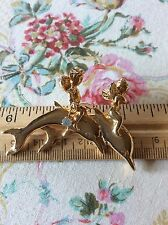 Fabulous! Signed Kirks Folly Dolphin Cherub Angel Gold Tone Brooch!