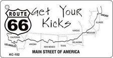 PLAQUE DE VOITURE AMERICAINE- GET YOUR KICKS ROUTE 66--NEUVE  DECO USA / BIKER