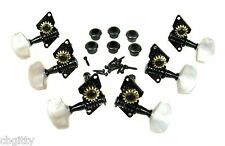 Black Open-Gear Guitar Tuners/Machine Heads - 6pc. 3 left / 3 right 31-086-01