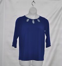Quacker Factory Sparkle Keyhole 3/4 Sleeve Top Size S Light Navy