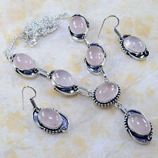 "Handmade Pink Rose Quartz Gemstone 925 Sterling Silver Necklace 17.5"" #E22795"
