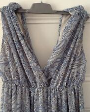 BNWOT, H&M Blue Floral Paisley Chiffon Fully Lined Maxi Dress, Sz 10, Never Worn