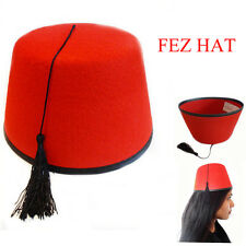 RED Moroccan Fez Hat Perfect Head Fit Caps Fancy Dress Hats Unisex Turkish Style