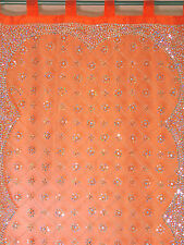 Orange Curtain Panel - Zardozi Embroidered Beaded India Window Treatments 92""