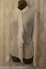 Karen Millen Soft Fluid Frill Drape Long Sleeve Shirt Blouse Top Ivory 14 42