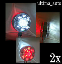 PAIR UNIVERSAL 24V SMD 24 LED CHROME RED WHITE SIDE MARKER LIGHTS TRUCK TRAILER