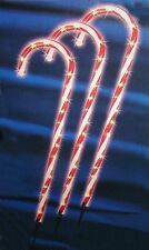 (New) pk3 Lighted Candy Cane Pathway Markers Outdoor Christmas Decorations 28""