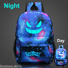 Noctilucence Pokemon Boy School Bag Backpack Gengar Face Xmas Gift Blue Galaxy