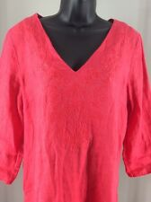 Saint Tropez West Large Linen Pullover Embroidered Blouse 3/4 Sleeves