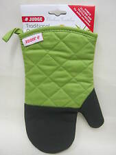 New Judge Traditional Single Oven Mitt Glove Black Silicone Lime Cotton JTE02