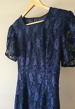 VINTAGE Royal Navy Blue Lace Abito da cocktail