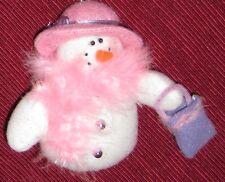 """White 4 1/2"""" Plush Snowman - Woman w Pink Feather Boa Purse & Hat"""