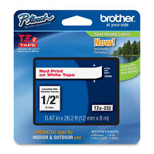"Brother TZe232 12mm 1/2"" red on white TZ P-touch tape PT D450 2030 1400 1090"