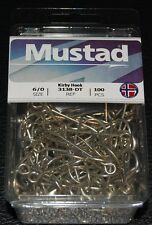 100 Mustad 3138DT Size 6/0 Saltwater Kirby Fish Hooks 3138DT-60