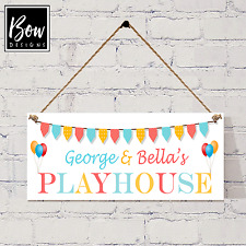 038.3 HAND MADE HANGING PLAYHOUSE SIGN - PERSONALISED WITH YOUR CHILDS NAME