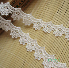 1 yd Vintage White Embroidered Lace Trim Ribbon Crochet Applique Sewing Crafts