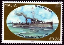 HMS MALCOLM (D19) Scott Class Destroyer Warship WWII Malta Convoys Stamp