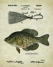 Fishing Lure Patent Poster Art Print Antique Black Crappie Jig Bass Fish PAT212