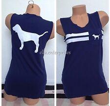 Victoria's Secret Pink Dark Navy Blue White Dog Logo Campus Tank Top - XS *NIP