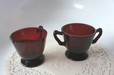 VINTAGE RUBY RED SUGAR AND CREAMER