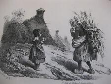 Lithographie ancienne originale Bellangé costumes romantisme vie de Paysans