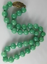 Vintage KRAMER Faux Green Jade Glass 9mm Beads Knotted Single Strand Necklace