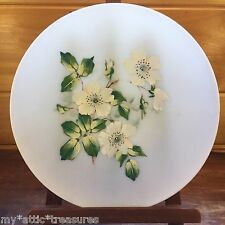 Vintage UNKNOWN Frosted Glass PLATE Hand Painted DOGWOOD FLOWER~APPLE BLOSSOM