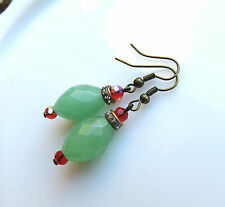 Colorful! Mint jade green earrings with red crystals and rhinestone beads. USA!