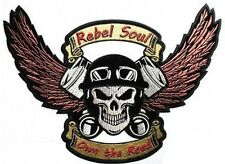 SKULL & PISTONS Rebel Soul Own The Road Wings MC Club Biker Vest Patch LRG-0542