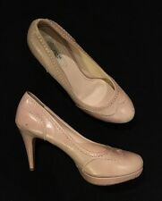 Womens - PRADA - Classic Stitched Nude Tan Beige Leather High Heels Pumps 8 38.5