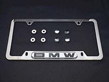 BMW License Plate Frame OEM Polished Stainless Steel Dealer Sold w Hardware