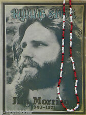 "30""Jim Morrison Style Handmade Bead Necklace Orig. Red White Black - the Doors"