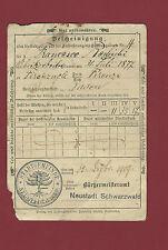 Documento 1909 Registrazione Impero Germanico Quittungskarte Firenzuola Neustadt