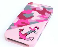 For iPhone SE 5S HARD PROTECTOR SKIN CASE COVER CAMO PINK GREY ARMY ANCHOR