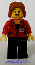 NEW Lego Female REPORTER - City TV  Weather News Girl w/Short Hair Black Legs