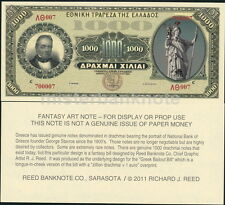 GREECE - GEORGE STAVROS REED BANKNOTE FANTASY ART NOTE ONE THOUSAND DRACHMAI!
