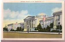 1931 Linen Postcard National Gallery of Art US Flags Washington D.C. Unposted