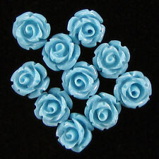 10 6mm synthetic coral carved rose flower pendant bead blue