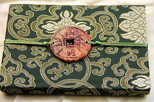 Cahier chinois-Journal Intime-Satin-Chinese Notebook-quaderno cinese-vert fleurs