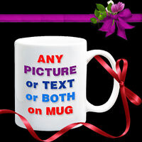 8x PERSONALISED MUGS-YOUR PHOTO+TEXT Coffee Tea Gift. Personalise Each different