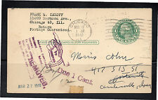 USA 1948 1 Cent Postal Stationery to CHICAGO with POSTAGE DUE & REMOVED CACHETS
