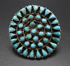 Vintage ZUNI Sterling Silver & Round TURQUOISE Petit Point Cluster RING, sz 8.25